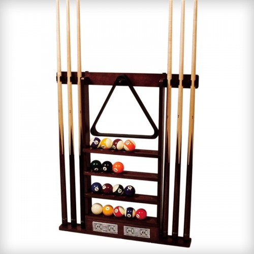 Wall billiard cue rack